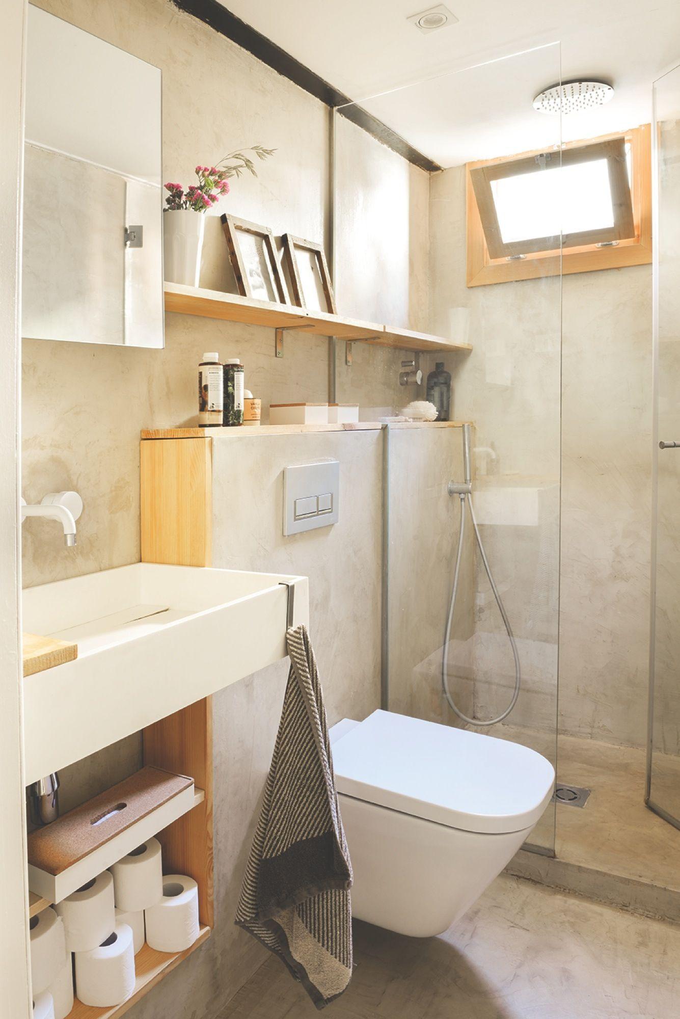 Ba o peque o en microcemento gris y madera piso neus - Microcemento para banos ...