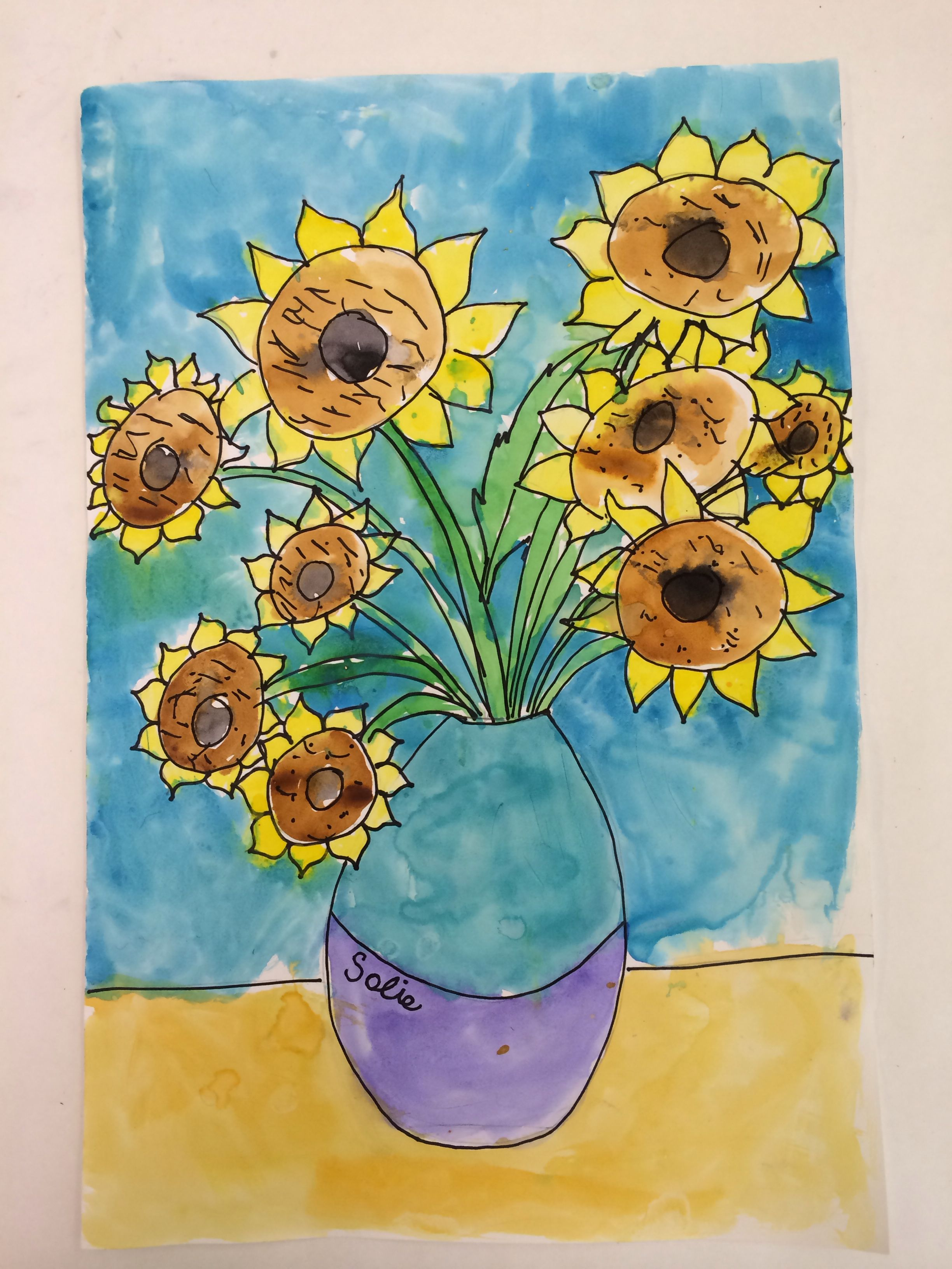 Van Gogh Sunflower Watercolor Art Project For Kids Famous