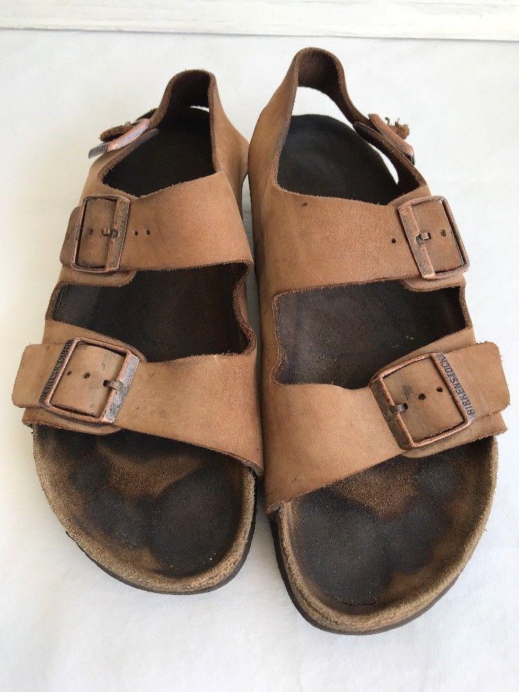aec8ba0cb341b0 Birkenstock USED Mens 10 43 Leather Back Strap Flat Sandals Shoes Milano  Brown  Birkenstock  Strap