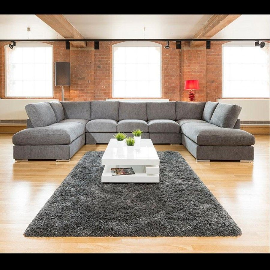 Extra large new sofa set settee corner group u shape grey for C shaped living room