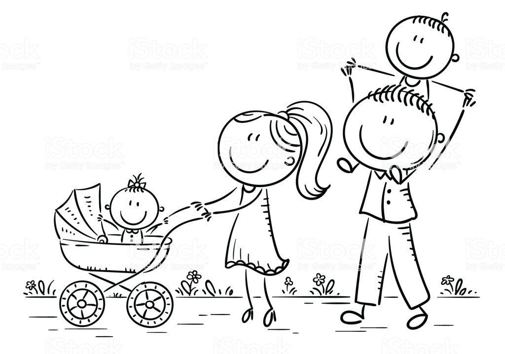 Happy Cartoon Family With Two Children Walking Outdoors Vector Familia Feliz Dibujo Familia Para Dibujar Dibujos