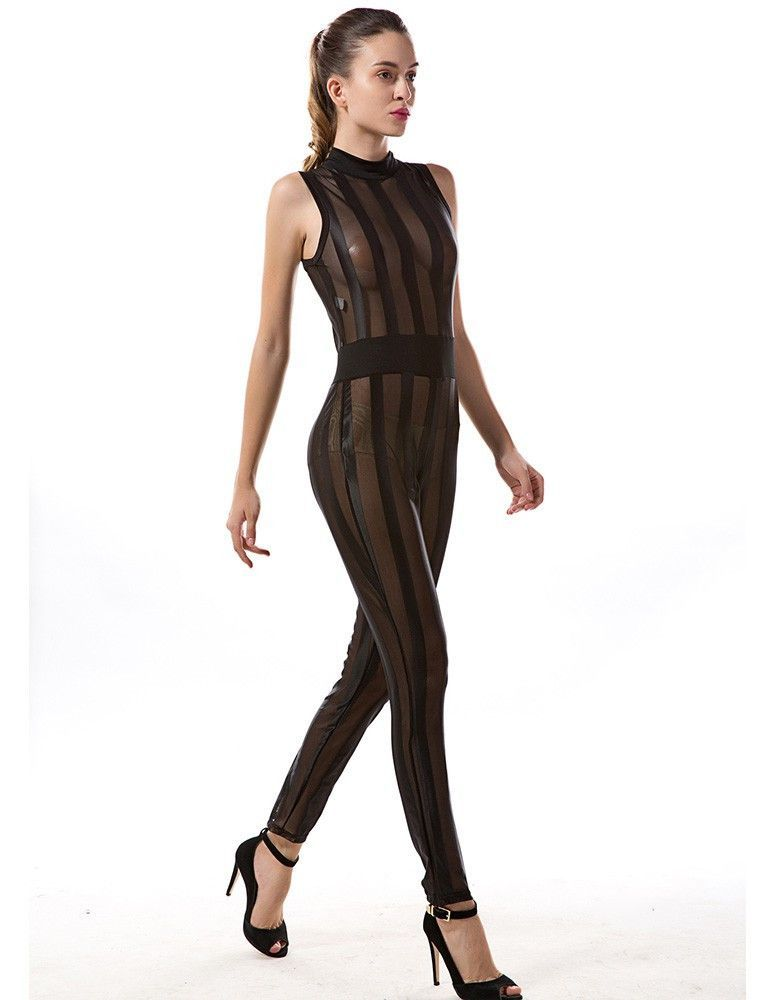 Black Sexy See Through Vertical Stripe Mesh Club Party Jumpsuit