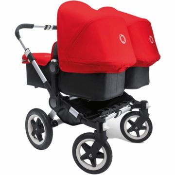 bugaboo donkey twin stroller in black red k i d g i f t. Black Bedroom Furniture Sets. Home Design Ideas