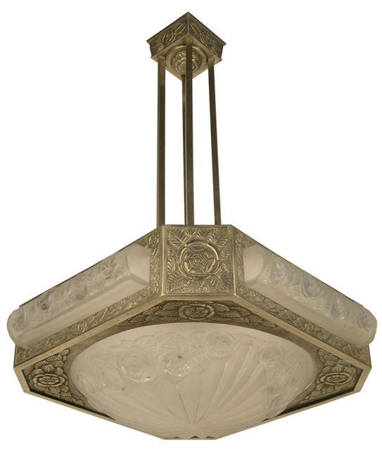 Bronze degue chandelier signed 501 in frosted glass with polished bronze degue chandelier signed 501 in frosted glass with polished details circa 1930s aloadofball