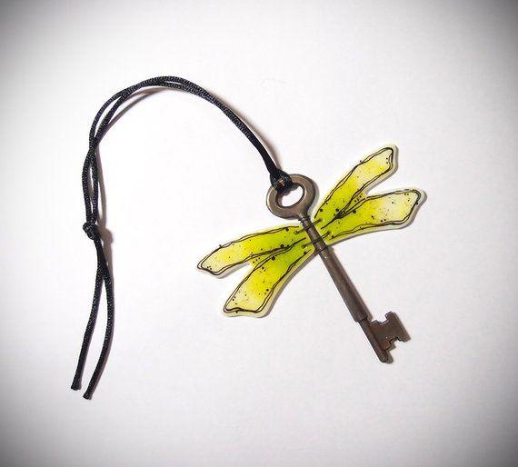 Dragonfly Key Ornament Fused Glass Suncatcher Skelton Key Garden