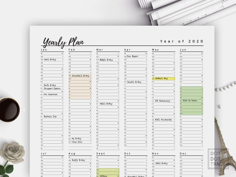 Printable 2020 Planner Year At A Glance Letter A4 Monthly