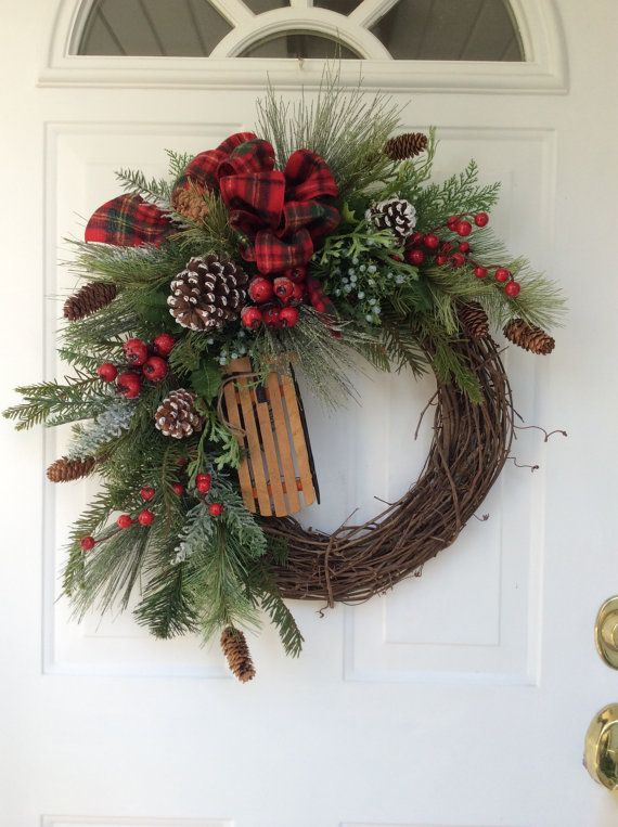 holiday wreath winter wreath christmas wreath wooden. Black Bedroom Furniture Sets. Home Design Ideas