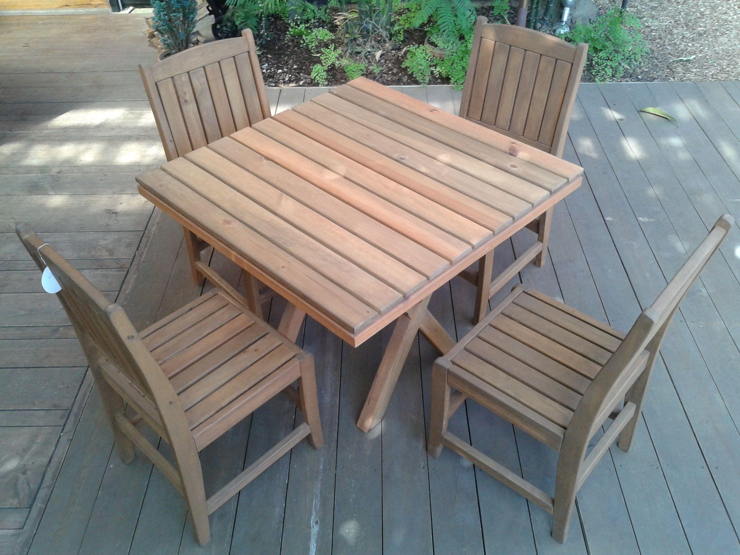 Mesa AVE, 4 sillas. madera impregnada, para uso exterior | JUNGLA ...