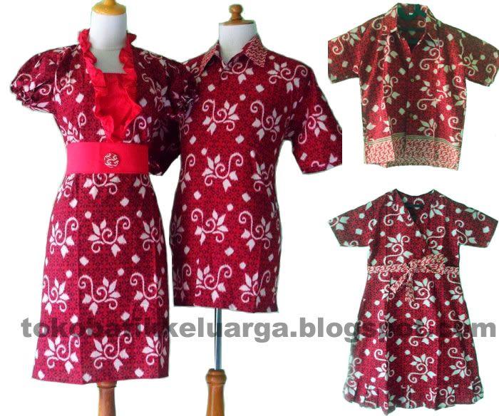 batik sarimbit keluarga modern merah SK33 di toko baju batik solo