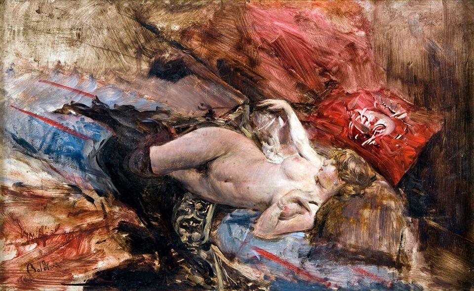 Boldini - Nudo di giovane sdraiata con calze nere, 1885 circa