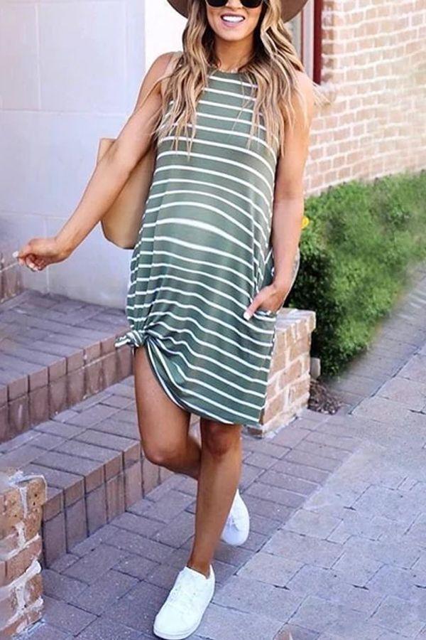 Photo of Maternity Casual Striped Sleeveless Dress