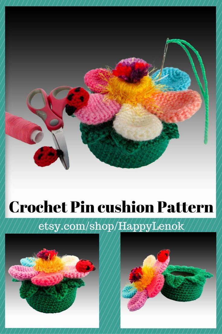 Crochet PDF Flower box Pin cushion Pattern Easy crochet pattern ...
