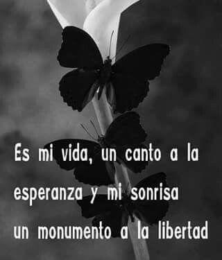 Es mi vida, un canto a la esperanza y mi sonrisa un monumento a la libertad