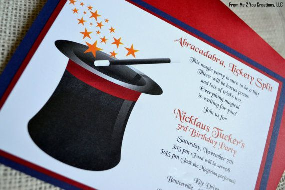 Love the wording on this invitation blake party pinterest magic top hat birthday party invitation by stopboris Image collections