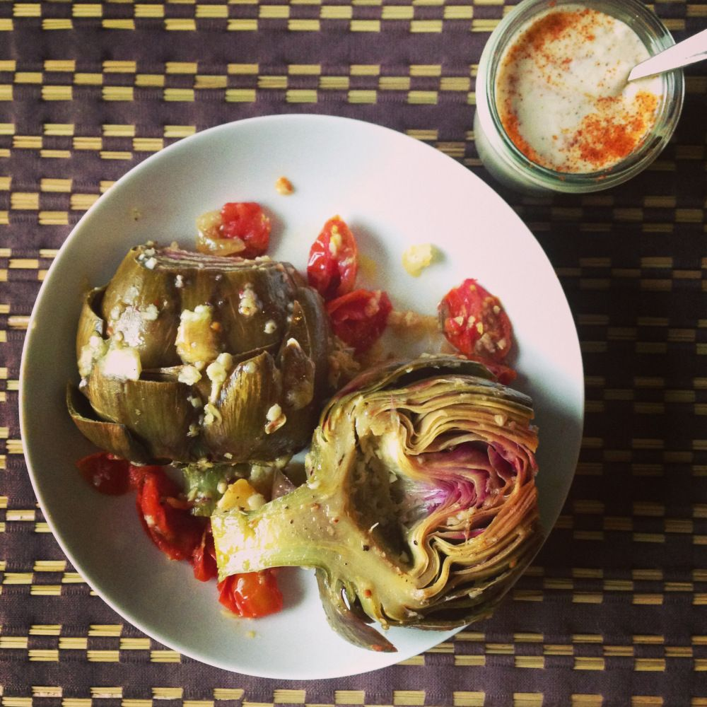 """Why steam artichokes when """"steam-roasting"""" is so much more flavorful?  This is my favorite way to prepare artichokes!   Steam Roasted Artichokes Spoonwithme.com"""
