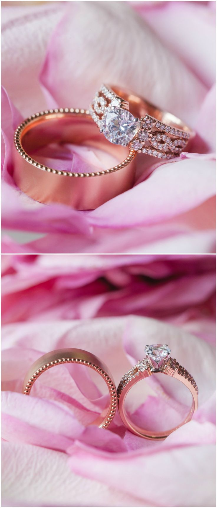 Rose gold wedding rings, round-cut diamond, stunning band // Casey ...