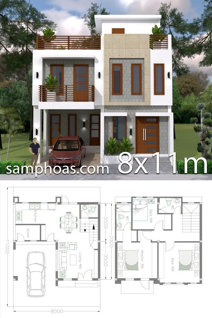 Home Design Plan 8x11m With 3 Bedrooms Samphoas Plan Simple House Design Model House Plan Two Story House Design
