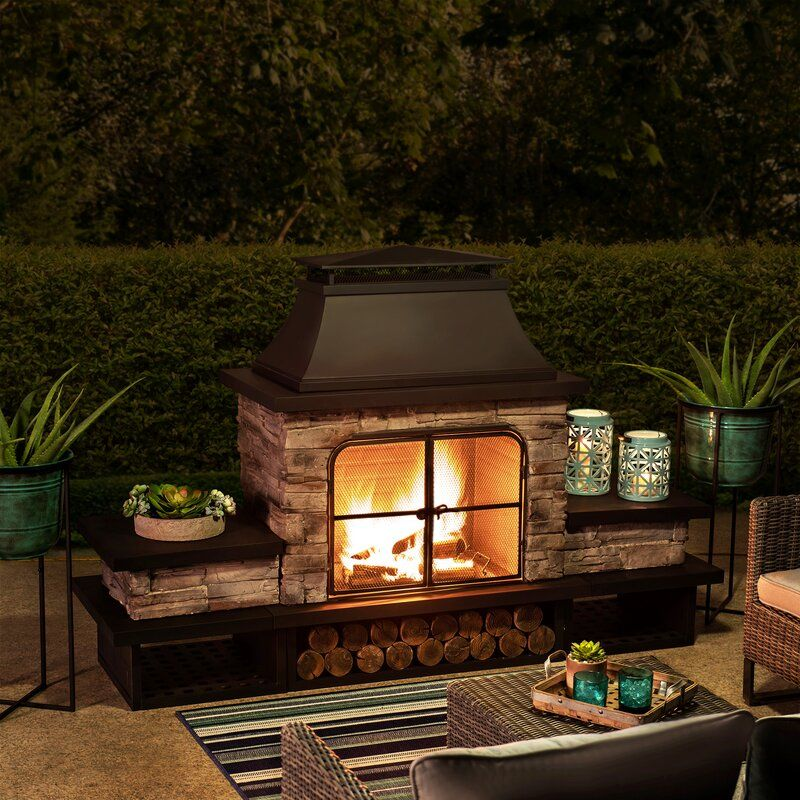 Quillen Steel Wood Burning Outdoor Fireplace | Outdoor ... on Quillen Steel Wood Burning Outdoor Fireplace id=82100