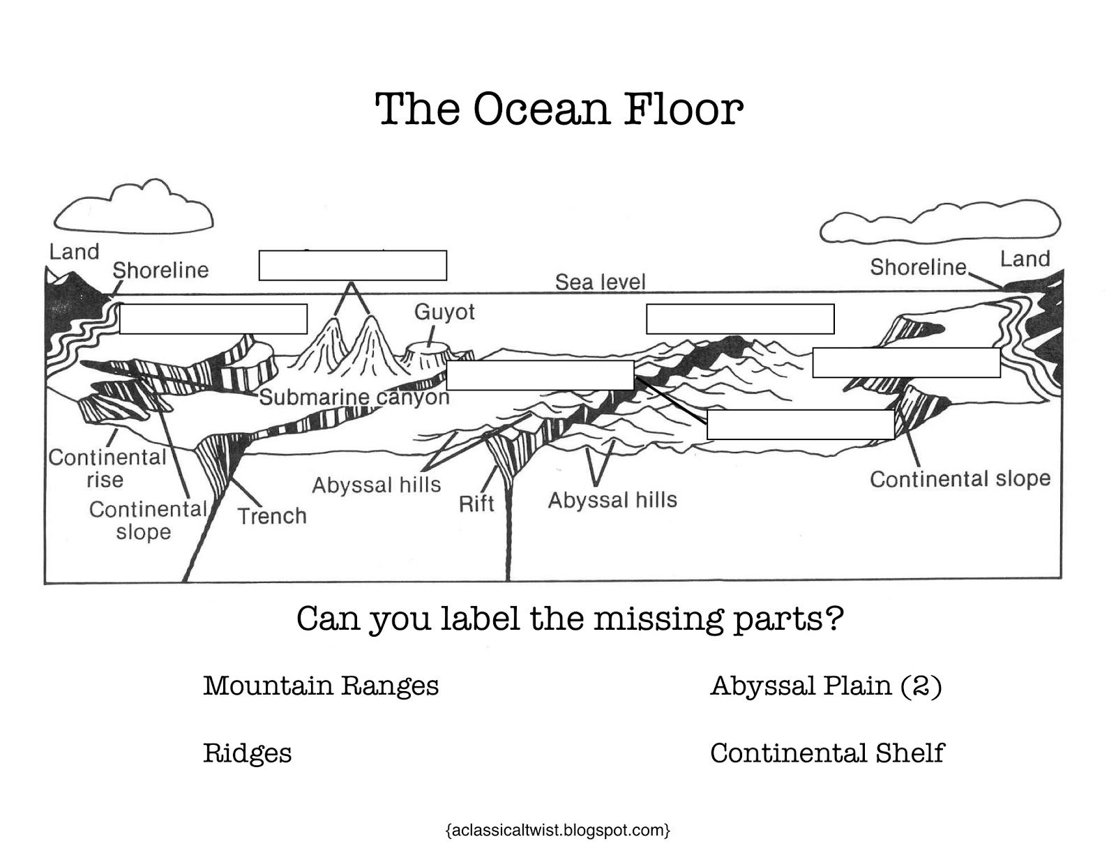 worksheet Mapping The Ocean Floor Worksheet 10 best images about cc cycle 1 science on pinterest parts of a homeschooling with classical twist week 18 ocean floor