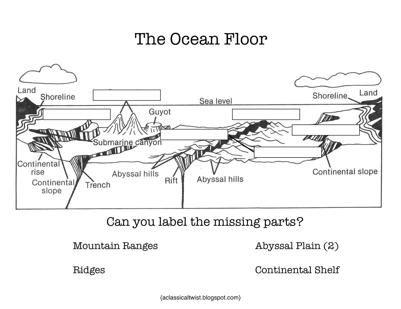 worksheet Label The Ocean Floor Worksheet homeschooling with a classical twist cc cycle 1 week 18 ocean floor