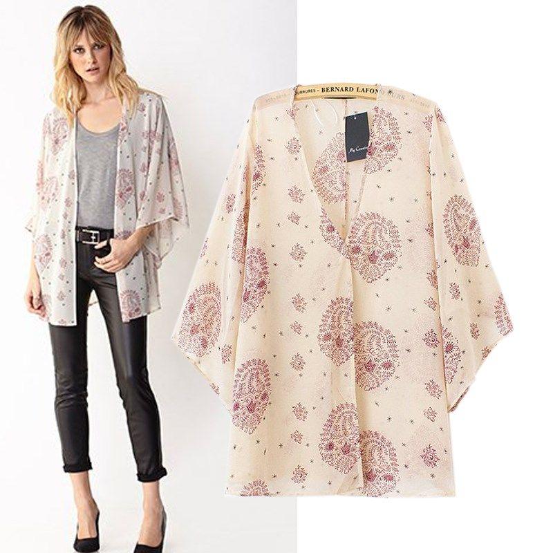 Мода 2014 весной и летом Богемия V-образным вырезом Кардиган Мода три четверти рукавом Женский Верхняя одежда Мода Shirtd SL 573,97
