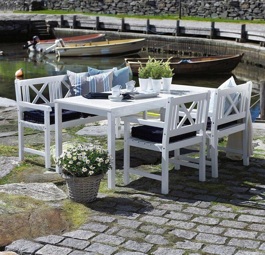 Rosenborg Havemøbelsæt - Flot sæt havemøbler i hvidmalet mahogni med ...