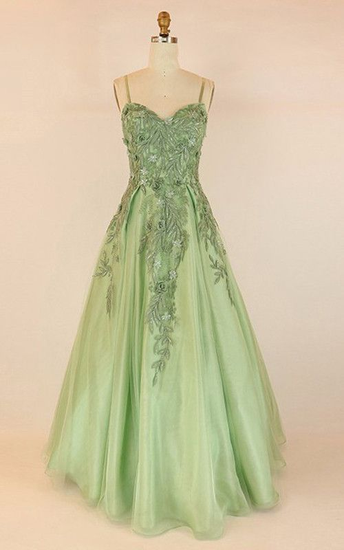 Ball Gown V Neck Tulle Floor Length Appliques Lace Light Green Prom ...