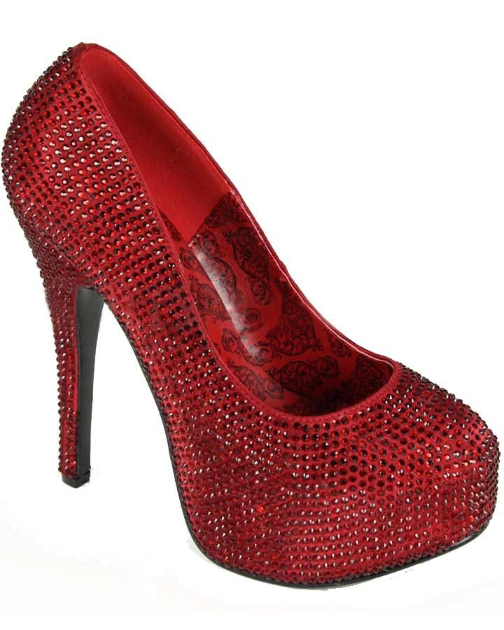 Womens Ruby Red Satin Pumps #MardiGras
