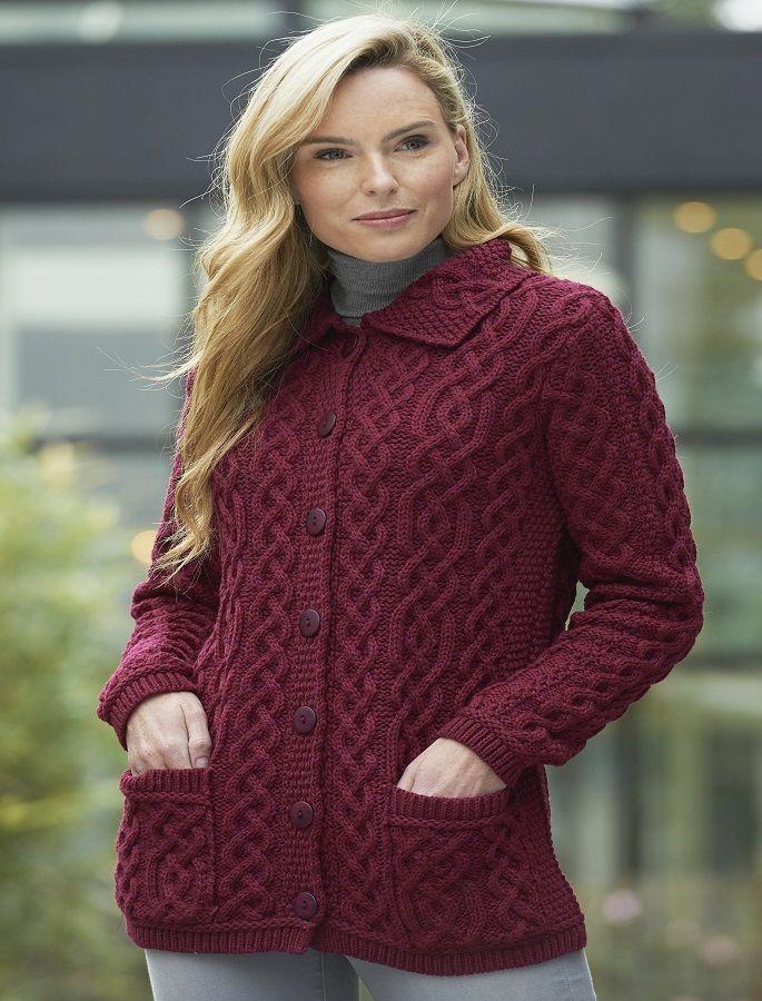 Ladies Merino Button Cardigan   Cable cardigan knitting ...
