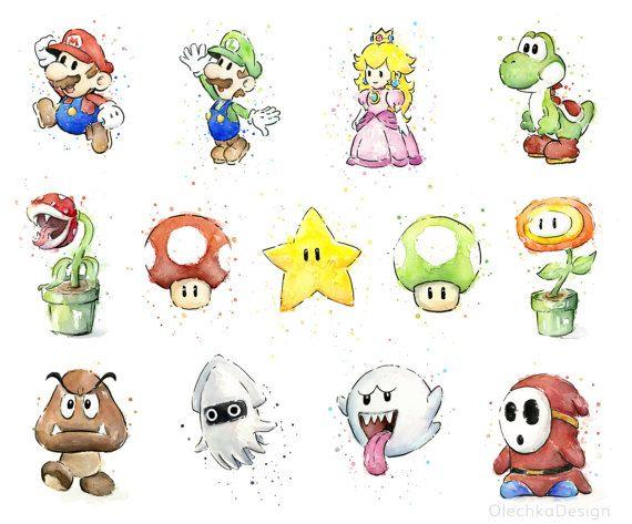 Fire Flower Watercolor Art Print Nintendo Mario Bros Painting Videogame Nintendo Supermario Geek Art Print Gamer Decor Videogame Art