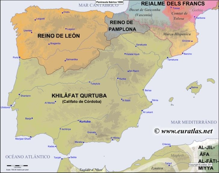 iberian peninsula on map of europe Mapa de la península en el año 1000. | Historia de españa