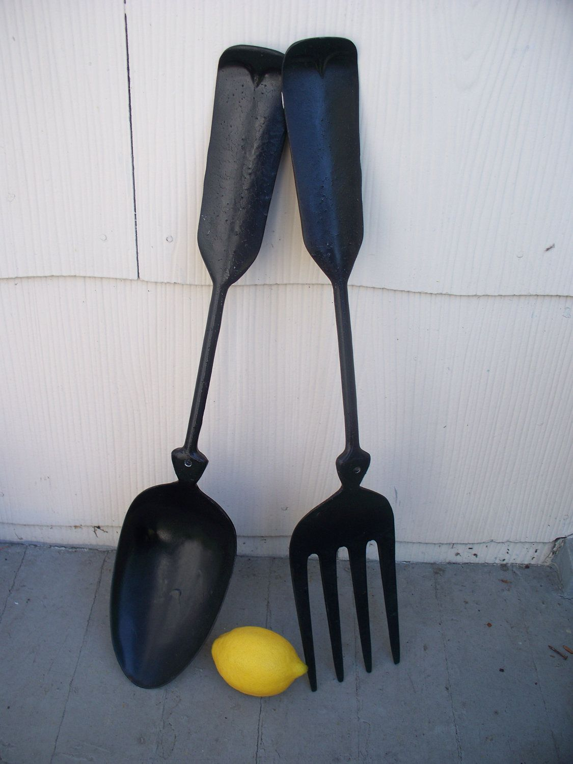 Vintage Large Metal Spoon And Fork Wall Decor 20 00 Via Etsy