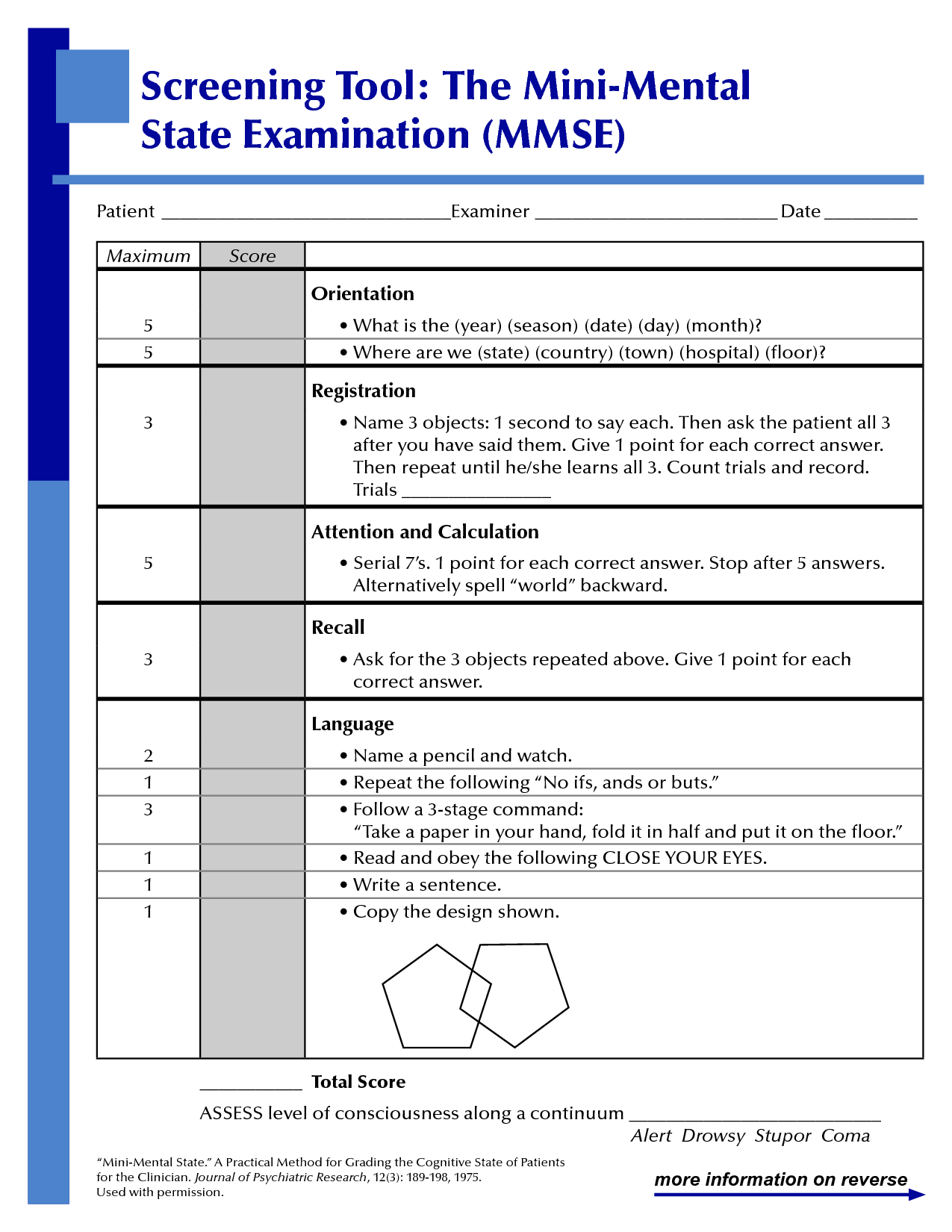 Folstein Mini Mental Status Exam