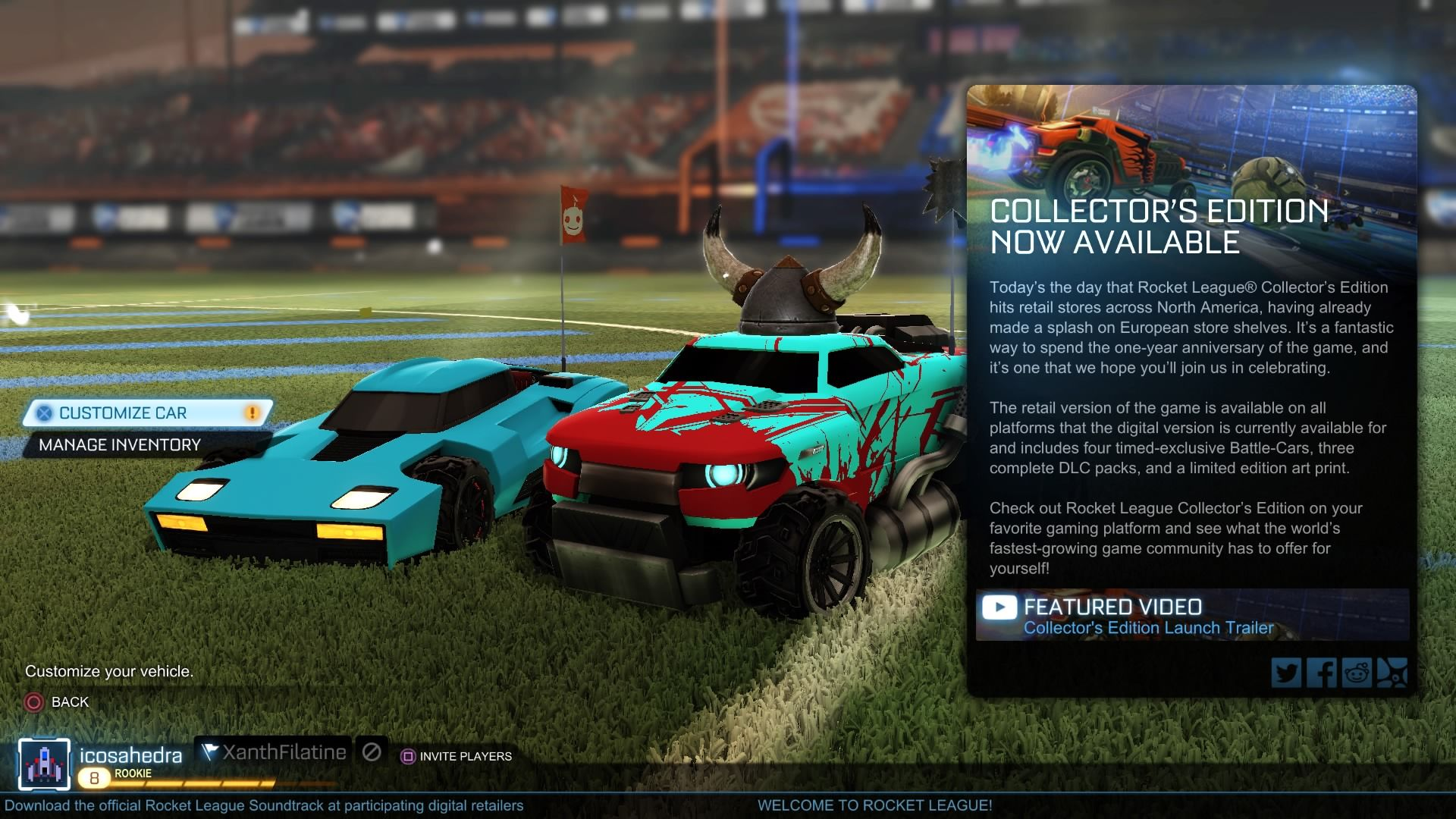 Rocket League Players in the Party are shown on the home