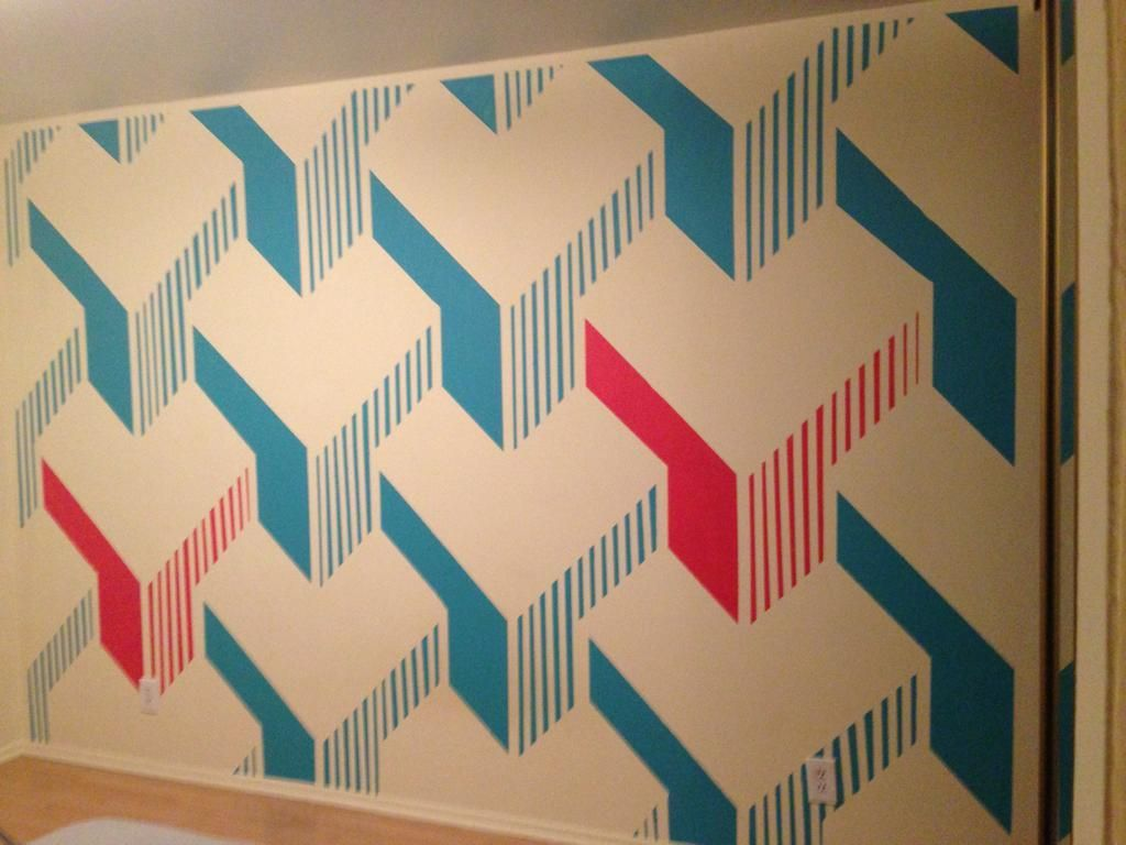 Man Designs A Mesmerizing 3d Cube Wall Using Lots Of Tape And Patience Diy Wall Painting Wall Art Designs Wall Paint Designs