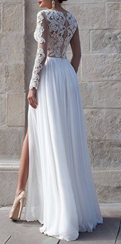 MengLu Sexy White Side Slit Long Sleeve Laces Empire Prom Gown Evening Dresses