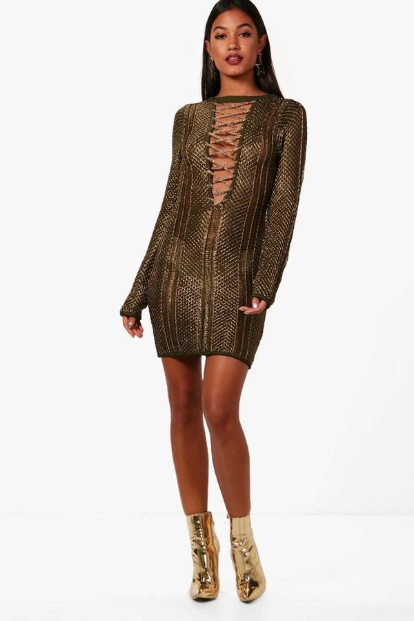 4c396fe050380 boohoo Boutique Amber Metallic Knit Bodycon Dress   Fashion trends ...