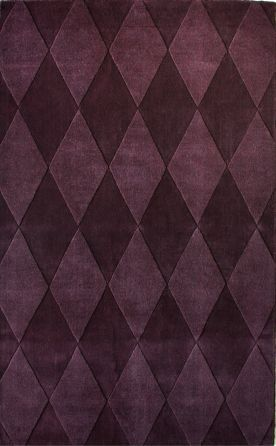 Contemporary Wool Handmade Diamonds 5x8 108 Plum Rug