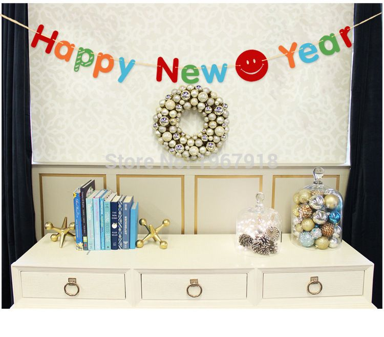 Colorful Happy New Year Hanging Flag Banner Home Decors