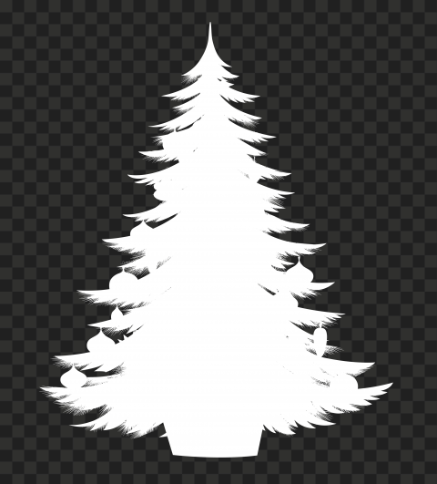 Hd Decorated Christmas Tree White Silhouette Png Christmas Tree Decorations Silhouette Png Art