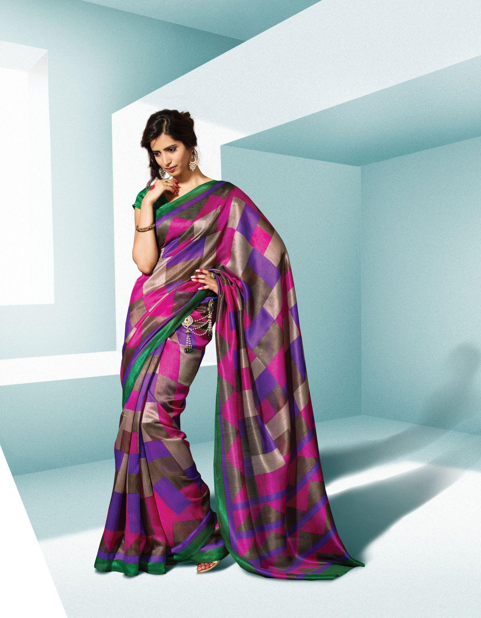 Pink & Purple Chekes Printed Saree