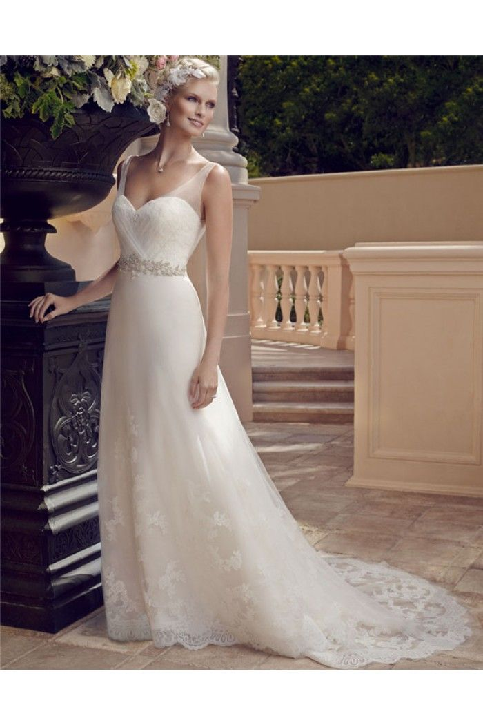 A Line Sweetheart Neckline Open Back Tulle Lace Beaded Wedding ...