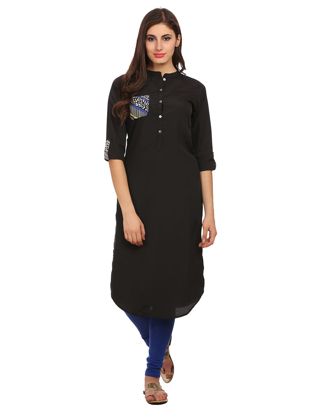 Black printed crepe stitched kurti new collection free shipping
