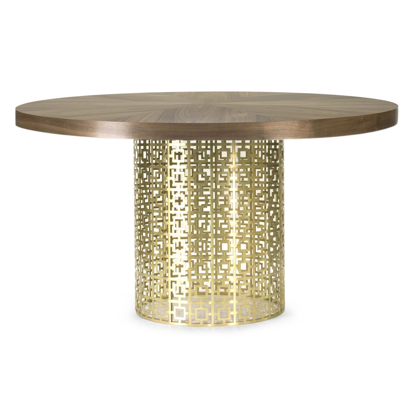 Double crank oval dining table at high fashion home industrial chic - Walnut Veneer And Brushed Brass Nixon Dining Table Jonathan Adler