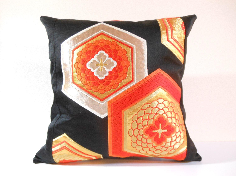 Japanese silk kimono obi pillow decorative pillow x