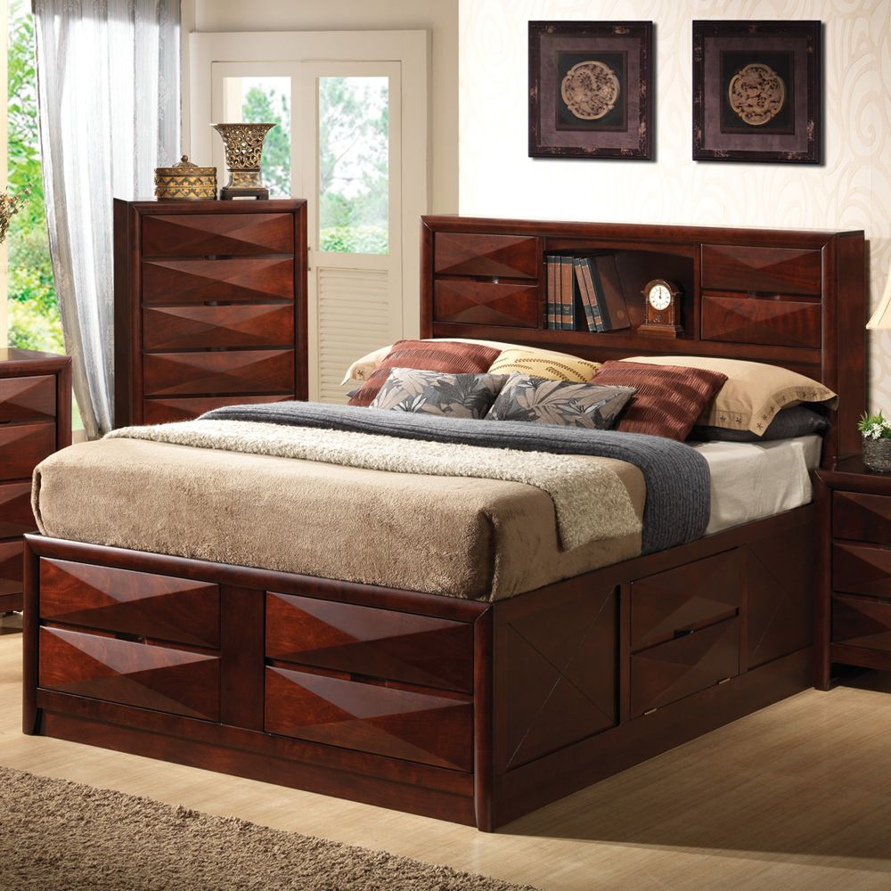Best Bree Storage Platform Bed By Coaster Bookcase Headboard 640 x 480