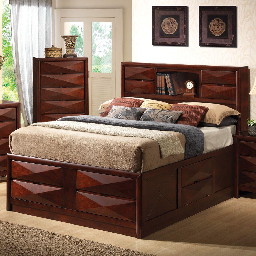 Bree storage platform bed by coaster bookcase headboard - Platform bed with storage underneath ...