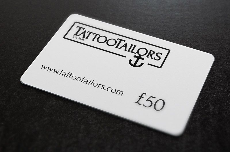 Tattoo gift card. Gift voucher sent, so you can redeem a custom tattoo design online from anywhere in the world. £25 £50, £100 £150 gift certificates available. Get your gift card for valentines day, birthday present or a christmas present, all tattoo artwork is created just for you. www.tattootailors.com