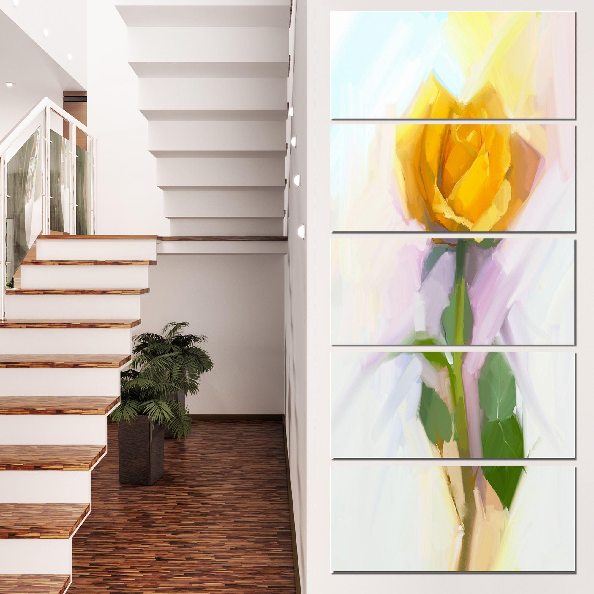 Design art designart urose with leaves paintingu floral canvas