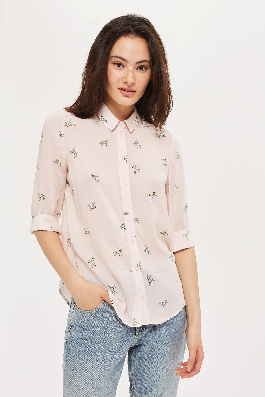 022c08b9daa55d PETITE Unicorn Print Shirt - Tops - Clothing